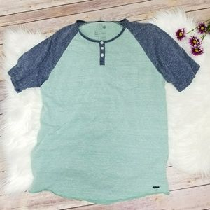 Slate Grey Blue And Seafoam Green Baseball Shirt